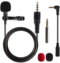 Lavalier Mikrofon, Omnidirectional Kondensator Lapel Mic mit Einfacher Clip on System, Perfekt für Recording Interview / Video Conference / Podcast / Voice Dictation / Phone
