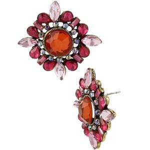 Betsey Johnson Summer Blast Pink Button Earring