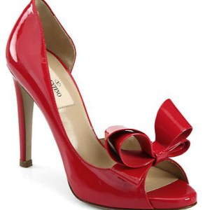 Valentino Patent Leather Couture Bow D'Orsay Pumps - red