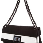Black and white Chanel handbags - CHANEL STRIPED REISSUEFLAP BAG