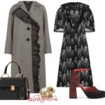 Miu Miu Ruffled dress, Houndstooth coat, Marni pums Etro ring Outfit