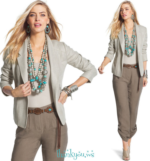 Spring by Chico's - neutral Outfit with turquoise for travel