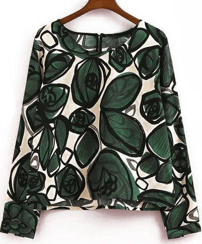 Green Long Sleeve Ikat Neat Awesome Leaves Print Crop Blouse