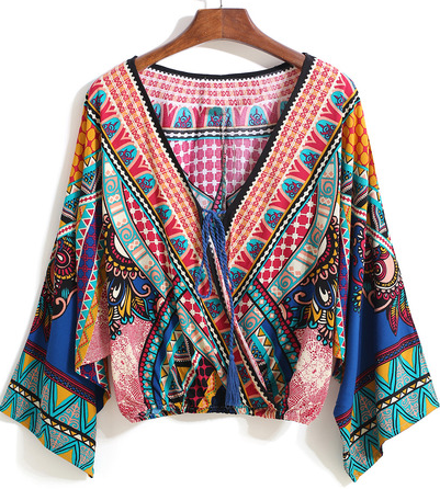 Multicolor V Neck Tribal Print Crop Blouse