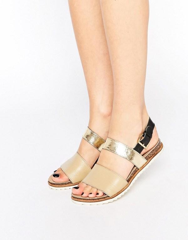 Ravel Strap Leather Flat Sandals