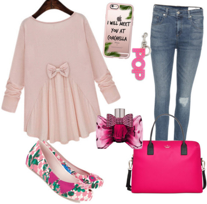outfit - Pink Bow Blouse with Distressed Slim Fit Jeans