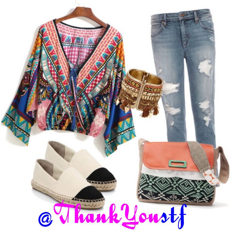 outfit with Multicolor Blouse and Destructed Ankle Jeans