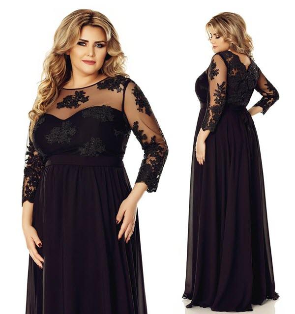 rochii plus size negre lungi pentru seara sau ocazii deosebite cu maneca lunga cu dantela