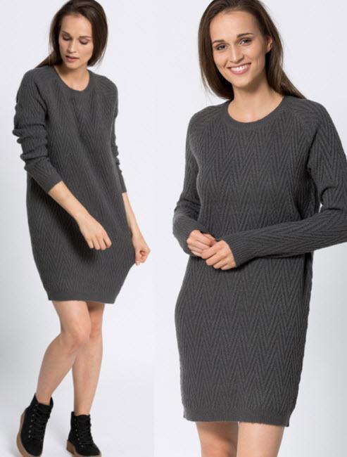 Rochie tricotata casual negru carbune vero Moda