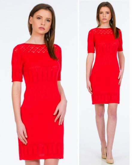 rochie cu manecute rosie din tricot cu model
