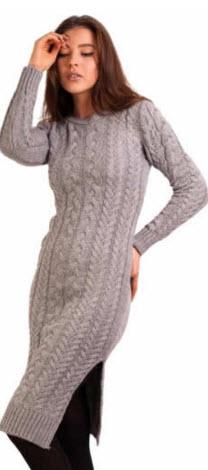 rochie lunga tricotata cu crapatura gri