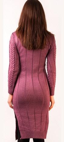 rochie tricotata de iarna din bumbac roz
