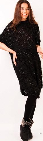 rochie tricotata neagra cu ochiuri mari