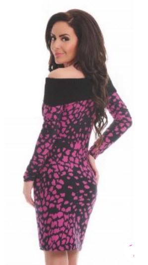 rochii din bumbac tricotat cu imprimeu leopard negru cu roz