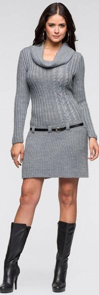 rochii tricotate 2015 gri cu maneca lunga