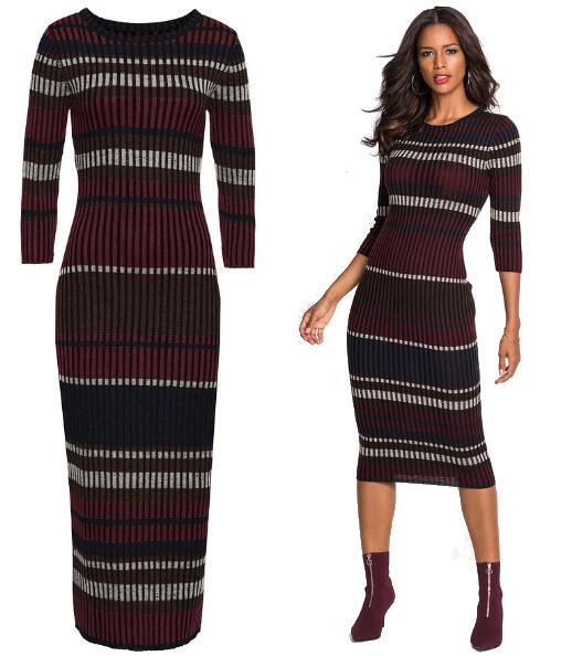 rochii tricotate cu dungi orizontale