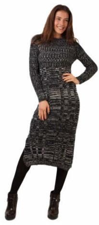rochii tricotate dama peste genunchi culoare gri cu negru