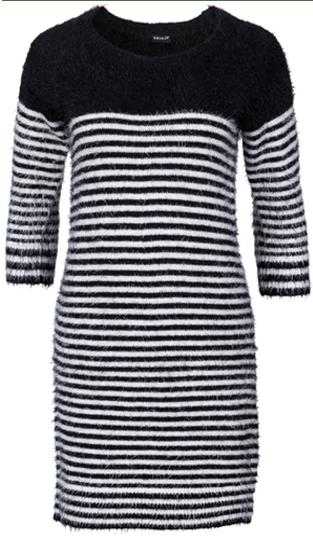 rochii tricotate masuri mari modele calduroase in dungi alb cu negru
