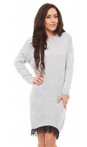 rochii tricotate tip pulover gri cu danteluta