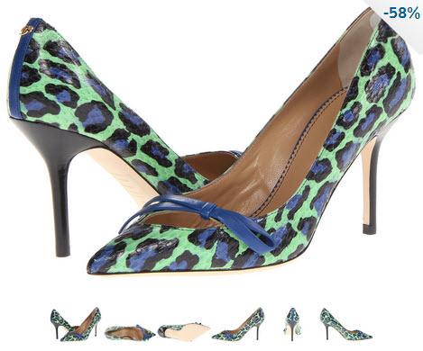 Pantofi DSQUARED2 Ayers Pump animal print verde menta cu albastru si negru