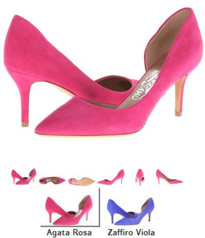 Pantofi agata rosa Salvatore Ferragamo Pam Glass si zaffiro Viola