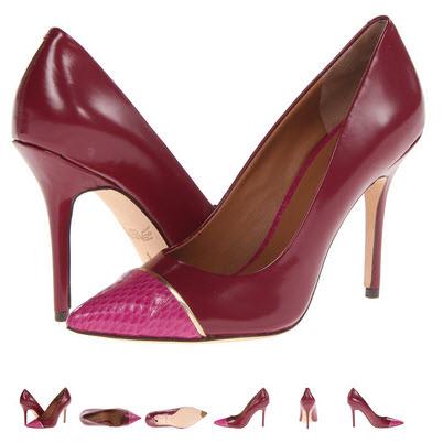 Pantofi stiletto din piele naturala Rachel Roy Alessa4 roz cu visiniu