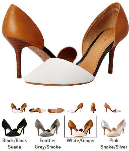 pantofi deosebiti cu toc cui COACH Camille negri, fumuriu, alb cu maro, roz cu argintiu