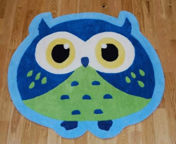 Covor Hong Kong Owl Blue 80cm - model cu bufnita pe bleu cu verde