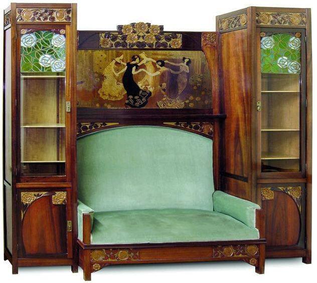 Art Nouveau Sofa-Vitrine (Display Cabinet) by Gaspar Homar 1903