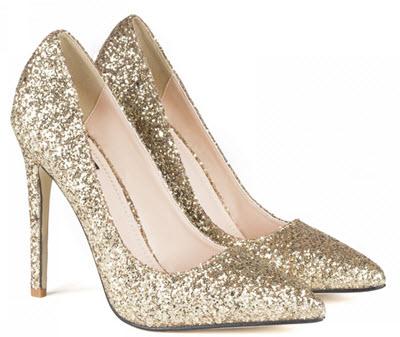 Pantofi Nissa de ocazie cu glitter auriu