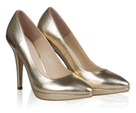 Pantofi aurii cu toc ascutit si platforma la vedere 290 lei