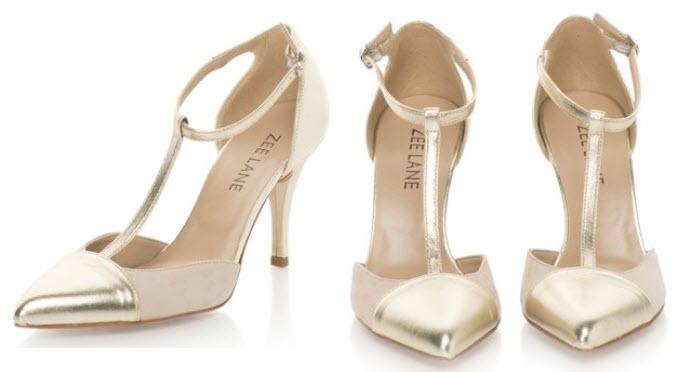 Pantofi bej cu auriu de piele intoarsa si piele Zee Lane