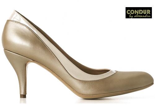 Pantofi cu toc Condur by Alexandru culoare auriu may cu bej lac