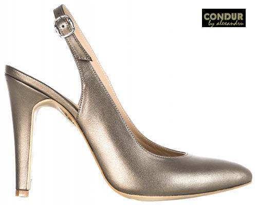 Pantofi de decupati din piele CONDUR by alexandru aramiu auriu