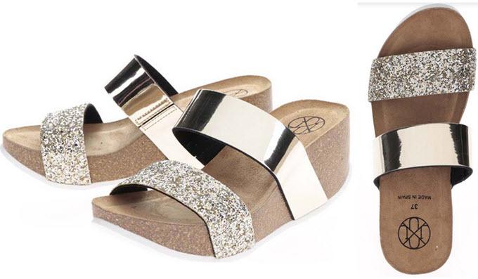 Papuci cu platforma aurii si sclipici