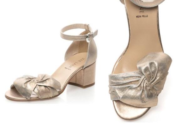 Sandale auriu rose de piele cu bareta pe glezna si funda