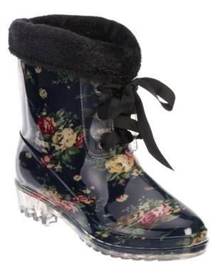 cizme caucicuc de iarna imblanite cu print floral