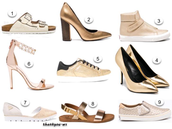 pantofi aurii cu toc, papusi sneakers tenisi sandale aurii