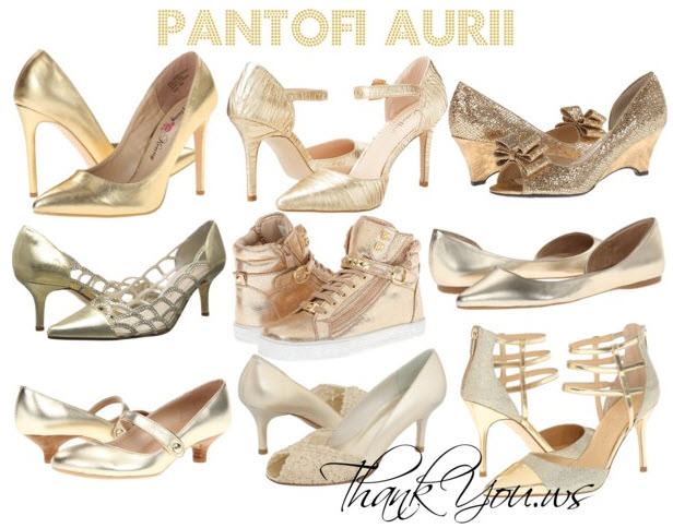 pantofi aurii de dama modele in magazine online