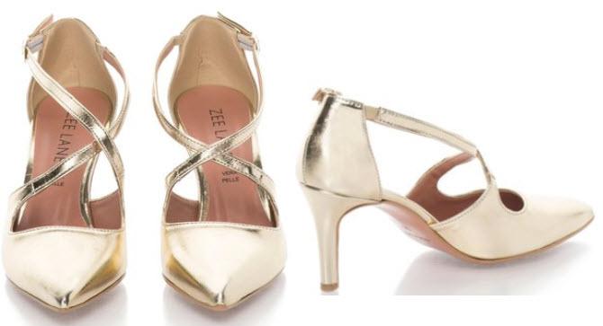 pantofi stiletto aurii cu barete multiple din piele Zee Lane