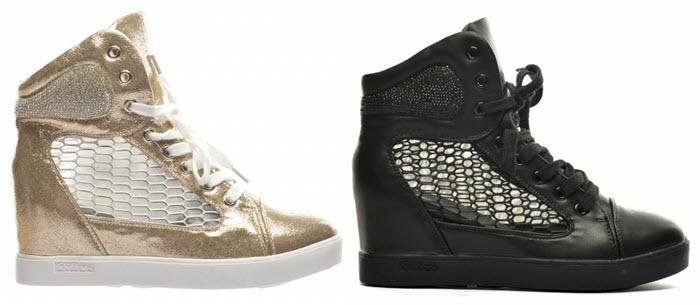 Pantofi Sport Inna Aurii Negri Argintii si Albi