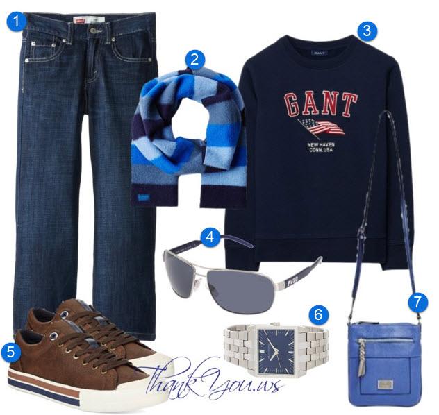 outfit casual barbati in tonuri de albastru