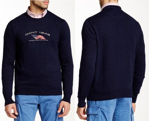 pulover barbatesc din bumbac bleumarin Gant Rugger O.P. Retro Flag Crew Neck Sweater