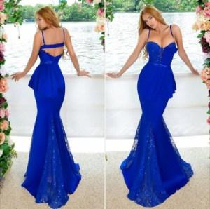 rochii lungi albastre croiala sirena