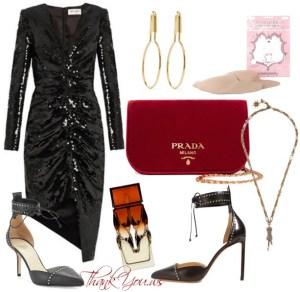 Tinuta de petrecere cu rochie Saint Laurent si geanta Prada