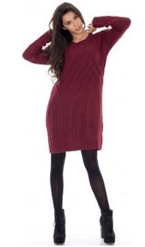 rochii tricotate grena cu maneca lunga