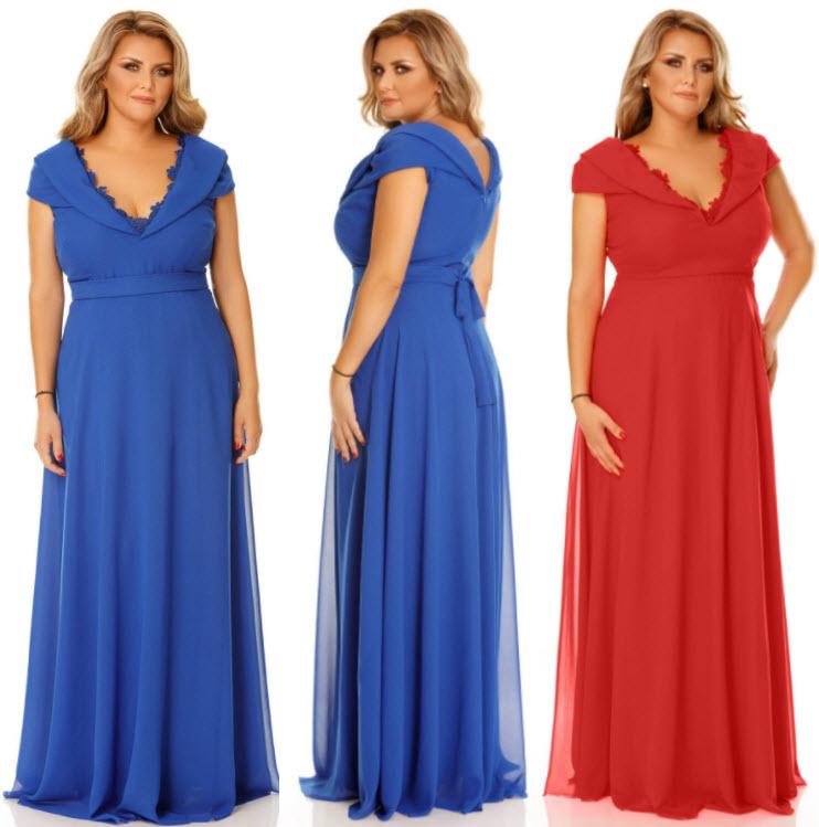 rochii femei grase pentru seara albastre si rosii