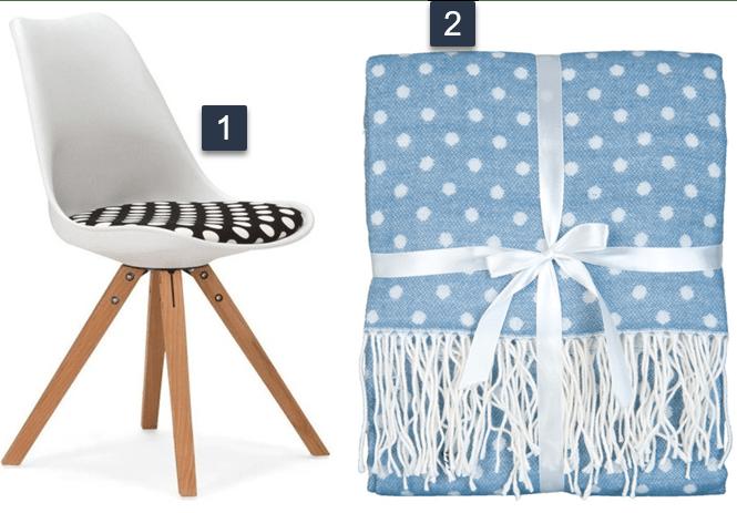 scaun cu tapiterie cu buline alb negru si pled albastru cu buline albe