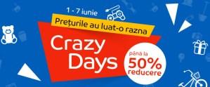 Reduceri 50% cu Crazy Days la eMAG 7 zile preturile o iau razna