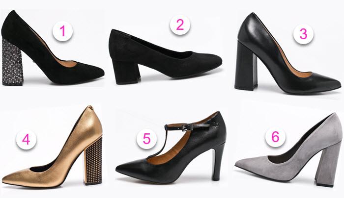 Pantofi cu tocul gros eleganti negri gri aurii